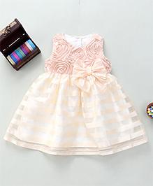 Bebe Wardrobe Flower Design Dress With Bow - Peach