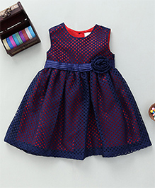 Bebe Wardrobe Net Design Dress With Flower Applique - Red & Blue