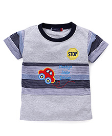 Great Babies Daddy's Little Driver Print T-Shirt - Grey & Navy Blue