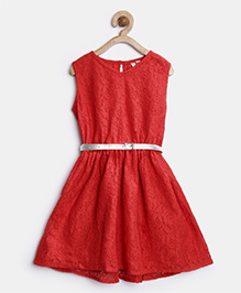 Stylestone Lace Party Dress With Belt - Red