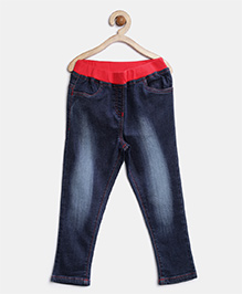 Stylestone Denim Jeans With Red Waistband - Blue