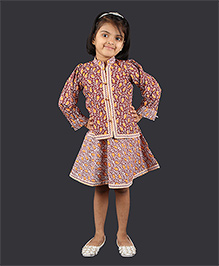 Pikaboo Sleeveless Frock With Jacket Big Paisley Print - Maroon White