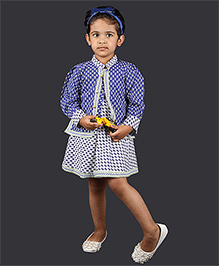 Pikaboo Sleeveless Frock With Jacket - Blue White