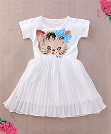 Superfie Cartoon Printed Dress - White