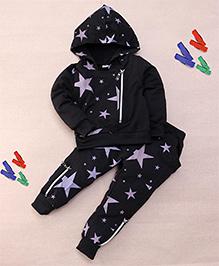 Superfie Star Printed Hoodie & Pant Set - Black
