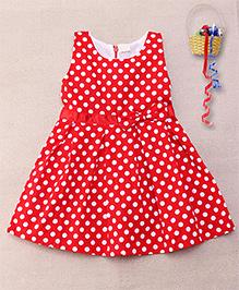 Superfie Polka Dot Printed Sleeveless Dress - Red