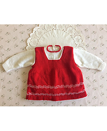 Buttercup from KnittingNani Knitted Pinafore Set - Red & White