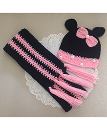 Buttercup from KnittingNani Little Mouse Scarf & Cap Set - Black & Pink