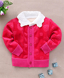 Superfie Buttoned Sweater - Hotpink