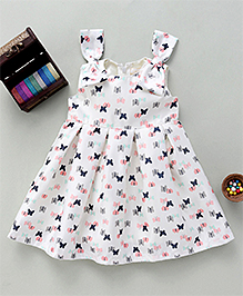 Bebe Wardrobe Butterfly Print Dress With Bow Applique - Off White