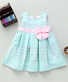 Bebe Wardrobe Pleated Dress With Bow Applique - Sea Green