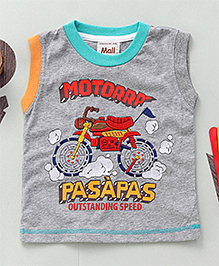Kiddy Mall Motorrp Print Sleeveless T-Shirt  - Grey