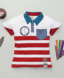 Kiddy Mall Stripe Print Polo Neck T-Shirt  - Red