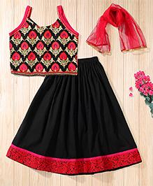 Twisha Full Embroidered Blouse With Boat Neck & Crush Lehanga & Dupatta - Black