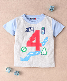 Great Babies Signal Print T-Shirt - Sky Blue