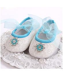 Akinos Kids Baptism Shoes - White & Blue