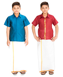Kutti Baba 2 Shirts & 1 Lungi Set With Placket & Border - Blue & Red