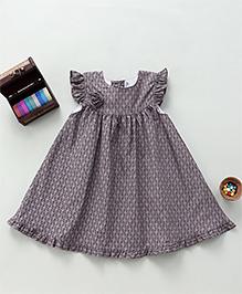 Bebe Wardrobe Leaf Print Dress - Grey