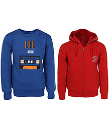 Haig-Dot Full Sleeves Printed Hooded Sweat Jacket And Sweatshirt Set Of 2 - Red Blue