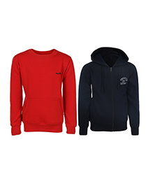 Haig-Dot Full Sleeves Hooded Sweat Jacket And Sweatshirt Pack Of 2 - Red Black