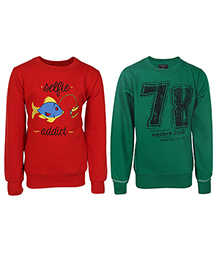 Haig-Dot Full Sleeves Printed Sweatshirt Pack Of 2 - Green Red