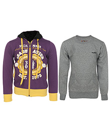 Haig-Dot Full Sleeves Hooded Sweat Jacket And Sweatshirt Pack Of 2 - Purple Grey