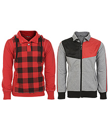 Haig-Dot Full Sleeves Hooded Sweatshirt And Sweat Jacket Pack Of 2 - Red Black Grey