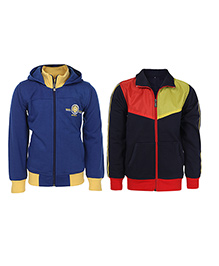 Haig-Dot Full Sleeves Hoodie And Sweat-Jacket Pack Of 2 - Blue Black Red Yellow