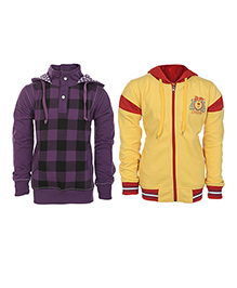 Haig-Dot Full Sleeves Hooded Sweatshirt And Sweat Jacket Pack Of 2 - Yellow Purple