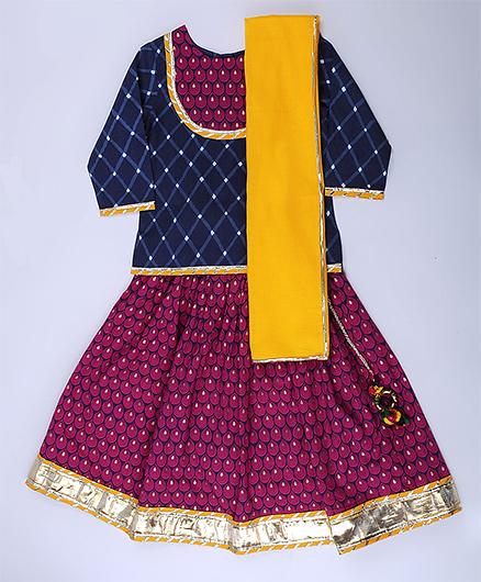 Amber Jaipur Lehenga With Top & Yellow Dupatta Set Of 3 - Blue Yellow & Pink