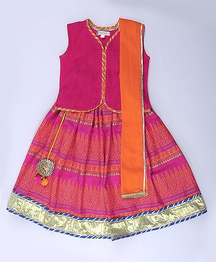 Amber Jaipur Lehenga With Top & Dupatta Set Of 3 - Orange & Pink