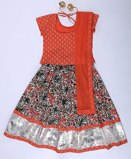 Amber Jaipur Lehenga With Top & Net Dupatta Set Of 3 - Orange & Multicolor