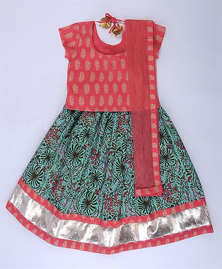 Amber Jaipur Lehenga With Top & Net Dupatta Set Of 3 - Pink & Multicolor