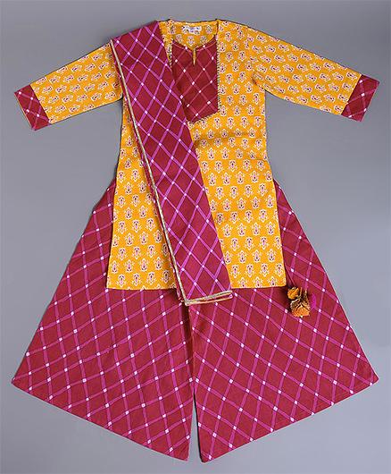 Amber Jaipur Kurti With Palazzo & Dupatta Set Of 3 - Pink & Yellow