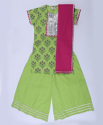 Amber Jaipur Gota Kurti With Palazzo & Dupatta Set Of 3 - Green & Pink