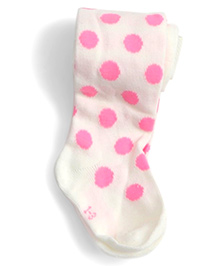 Dazzling Dolls Waist High Thick Winter Polka Dot Stockings - White