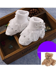 Dazzling Dolls Sequined Lace Ridged Thick Party Socks - White