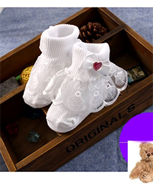 Dazzling Dolls Lace Ridged Thick Party Socks - White