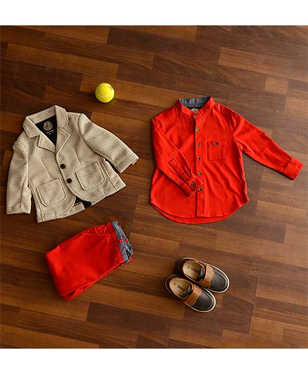 One Friday Boys Mandarin Collar Shirt - Red