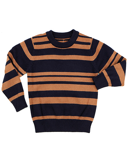 One Friday Boys Round Neck Pullover - Light Brown & Blue