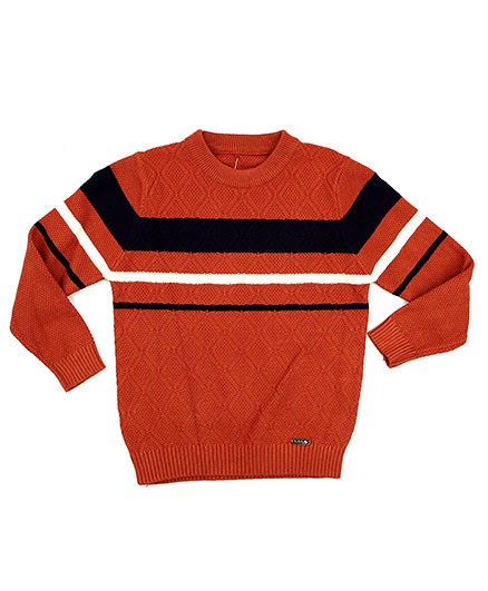 One Friday Boys Round Neck Stripe Pullover - Brown