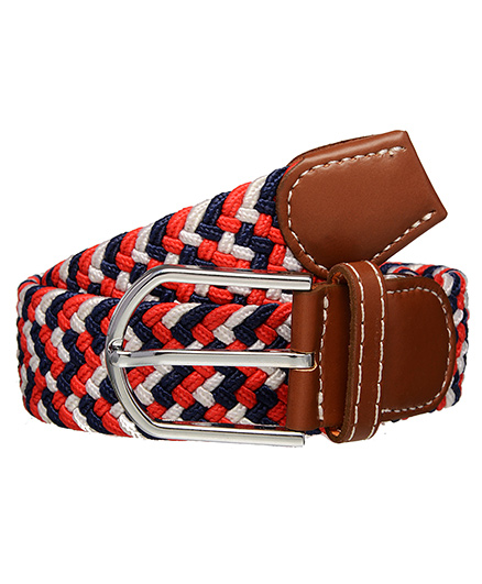 One Friday Boys Braided Belt - Brown Blue & Red