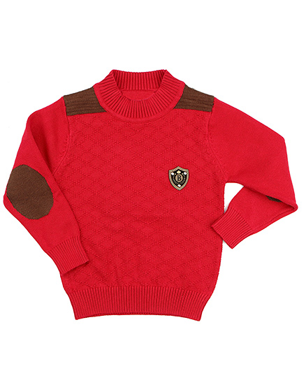 One Friday Boys Full Sleeve Pullover With Patched Sleeve - Red