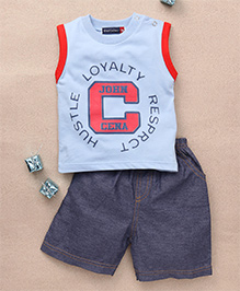 Great Babies John Cena Print T-Shirt & Shorts Set - Blue & Grey