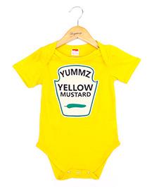 Hugsntugs Mustard Sauce Design Onesie - Yellow