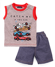 Great Babies Racing Cars Print T-Shirt & Shorts Set - Red