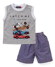 Great Babies Racing Cars Print T-Shirt & Shorts Set - Grey