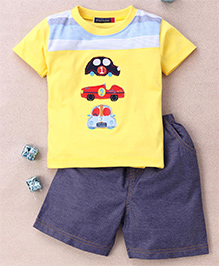 Great Babies T-Shirt & Shorts Set With 3 Car Patches - Yellow