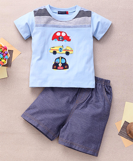 Great Babies T-Shirt & Shorts Set With 3 Car Patches - Sky Blue