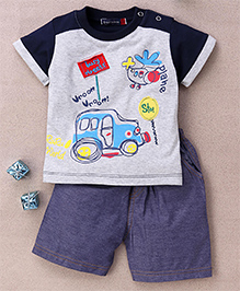 Great Babies Busy Street Print T-Shirt & Shorts With Snap Buttons  - Navy Blue